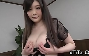 Tantalizing japanese boob be hung up on