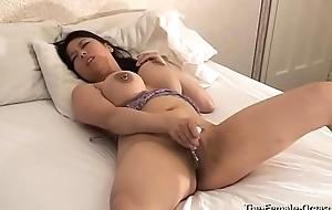 Femorg Big Boobed Curvy Asian in Lingerie Masturbates Shaved Twat