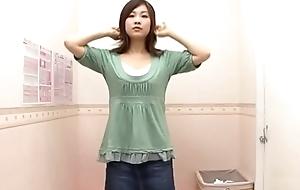 Cute Japanese neonate trying new bra
