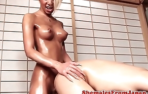 Skinny japanese newhalf buttfucking lucky alms-man