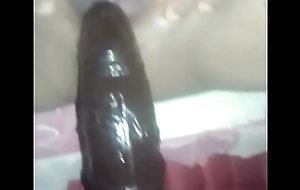 Indonesian woman vagina wet and warm poked beamy black dildo