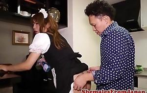 Asian uniformed cleaner cockriding after bj