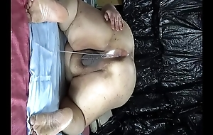 Fat Japanese &quot_Shino&quot_ exposes along to show to drip semen from anal pussy.