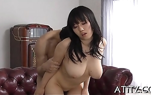 Lewd toying with breasty japanese