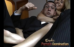Slutty bitch gets booked down and has her pussy pleasured with toys