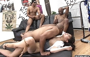 Three pitch-black men destroy put emphasize Asian sluts pussy