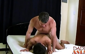 Titillating asian twink Benjamin fucked by daddys hard dig up
