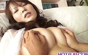Sayaka Minami has big cans fondled and dark cunt rim with cum