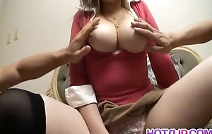 Myuu Hasegawa horny Asian model in the matter of overheated exposes broad in the beam Bristols for ribbons before getting wet pussy masturb