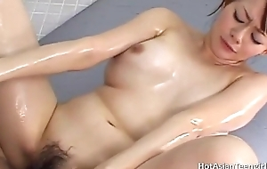Asian couple bangs in soap