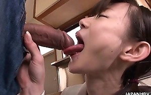 Asian cuttie cleaning her brother'_s erect boner