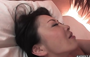 Hairy Japanese chick with big special pussy drilled missionary style