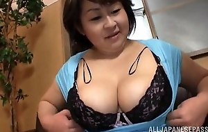 Heavy japanese unladylike gives a titjob and sucks a ding-dong