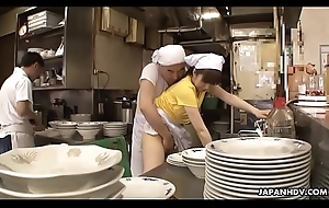 Japanese waitress Mimi Asuka gets finger fucked adjacent to the restaurant