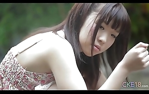 Shy Japanese teen angel first time titillating outdoor tease