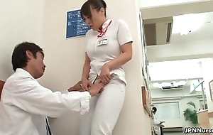 Horny japanese nurse gets enticed in the