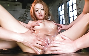 Cock gobbling Rei Miyakawa finds two dicks shoved in their way face and their way pussy banged hard.