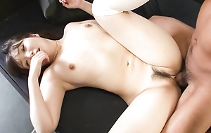 Haruka Oosawa is blindfoled and given a cock to feel before her trimmed pussy is toyed.