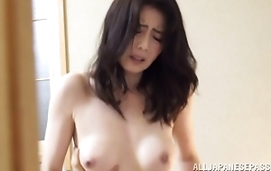 Pretty mature Asian model in sexy lingerie gets drilled