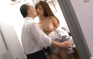 Haruki Sato gets fucked almost her husband´s office