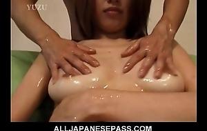 Busty Aya Kurosaki enjoys their way body being oiled up