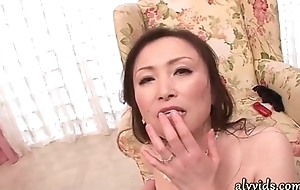 Saleable asian milf gives blowjob almost group