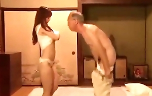 Young wife fucked apart from venerable beggar next door