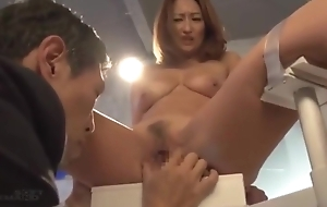 Japanese milf acts like art installation with save family