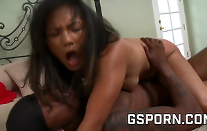 Sexy young asian fucked hard by big black cock