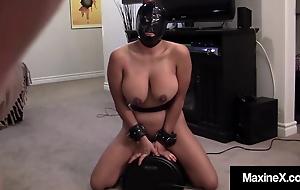 Hooded Asian Cougar Maxine X Rides Robot Cock Sucking Dick!
