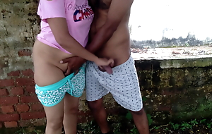 first time outdoor risking public  sex with friend sister
