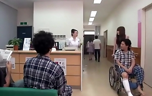Japanese girl in next bed cheats in hospital