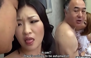 Yoke Japanese wives get fucked and facialized side by side
